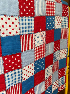 Red white and blue vintage baby quilt - Farewell Frances