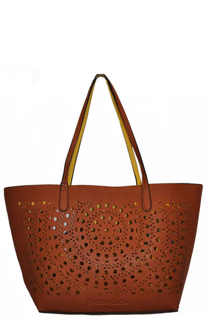 Lasercut Reversible 2 in 1 Tote CAMEL/YELLOW