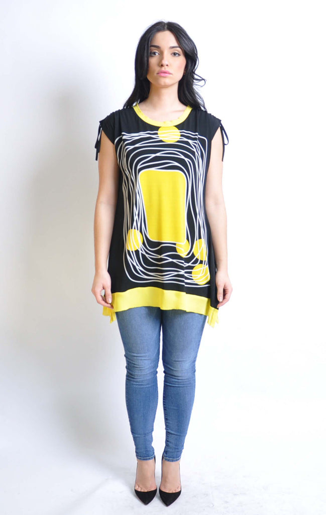 Graphic Printed Sleeveless Cap Sleeve Tunic Top Yellow Tunic Top Green Top Coral Top Spring Top Patrizia Luca