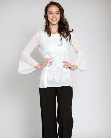 Chiffon Sleeve Twofer Top