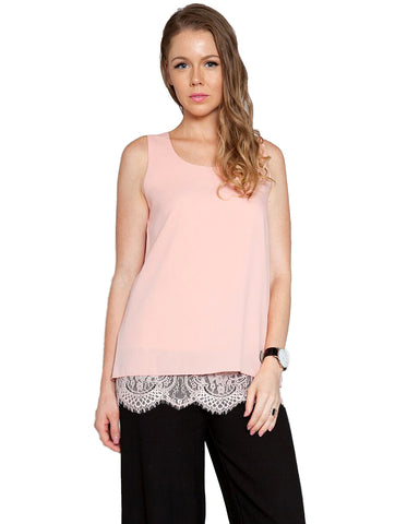 Lace Insert Sleeveless Top