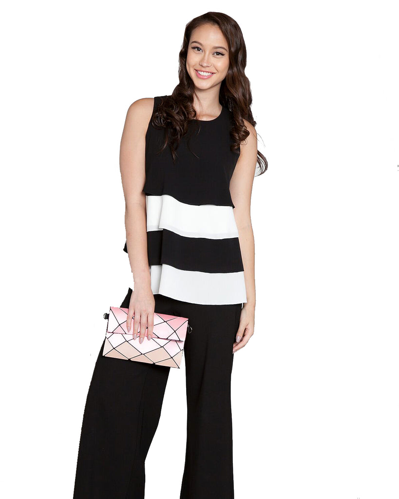 Color Contrast Tiered Sleeveless Top Black Front