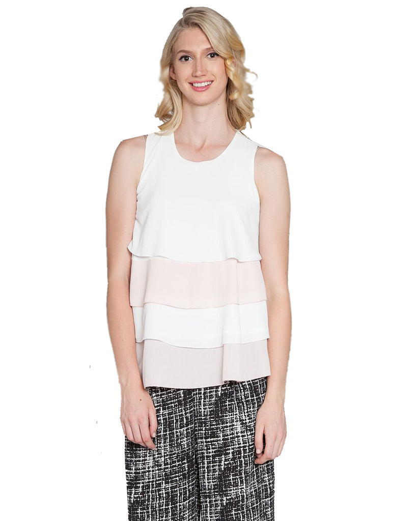 Color Contrast Tiered Sleeveless Top Pink Front