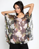 Elastic Bottom Printed Tunic Top with Elbow Sleeve