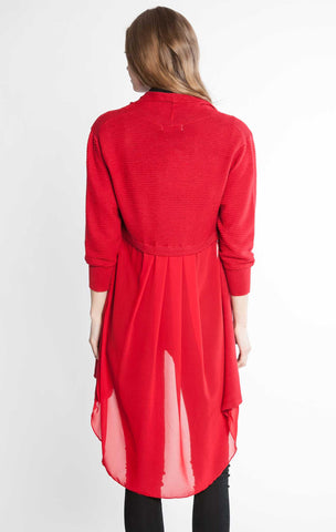Chiffon Back Duster Sweater Red