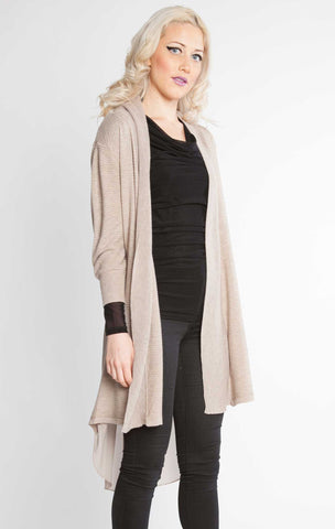 Chiffon Back Duster Sweater Taupe