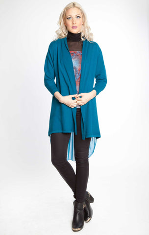 Chiffon Back Duster Sweater Turquoise