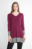 Two Tone Color Combo V Neck Cable Tunic Dress