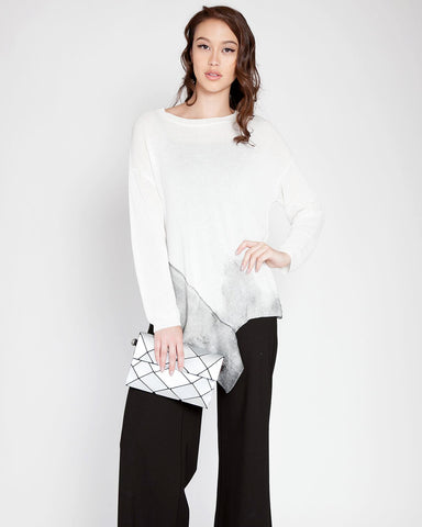 Color Contrast Uneven Hem Summer Sweater