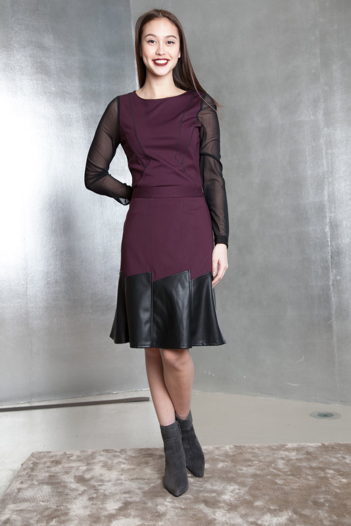 Leather Mix Pleated Skirt