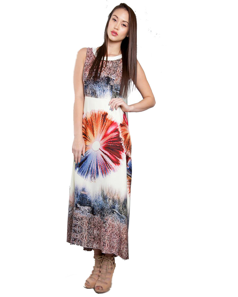 Multi Color Patrizia Luca Milano Printed Maxi Dress