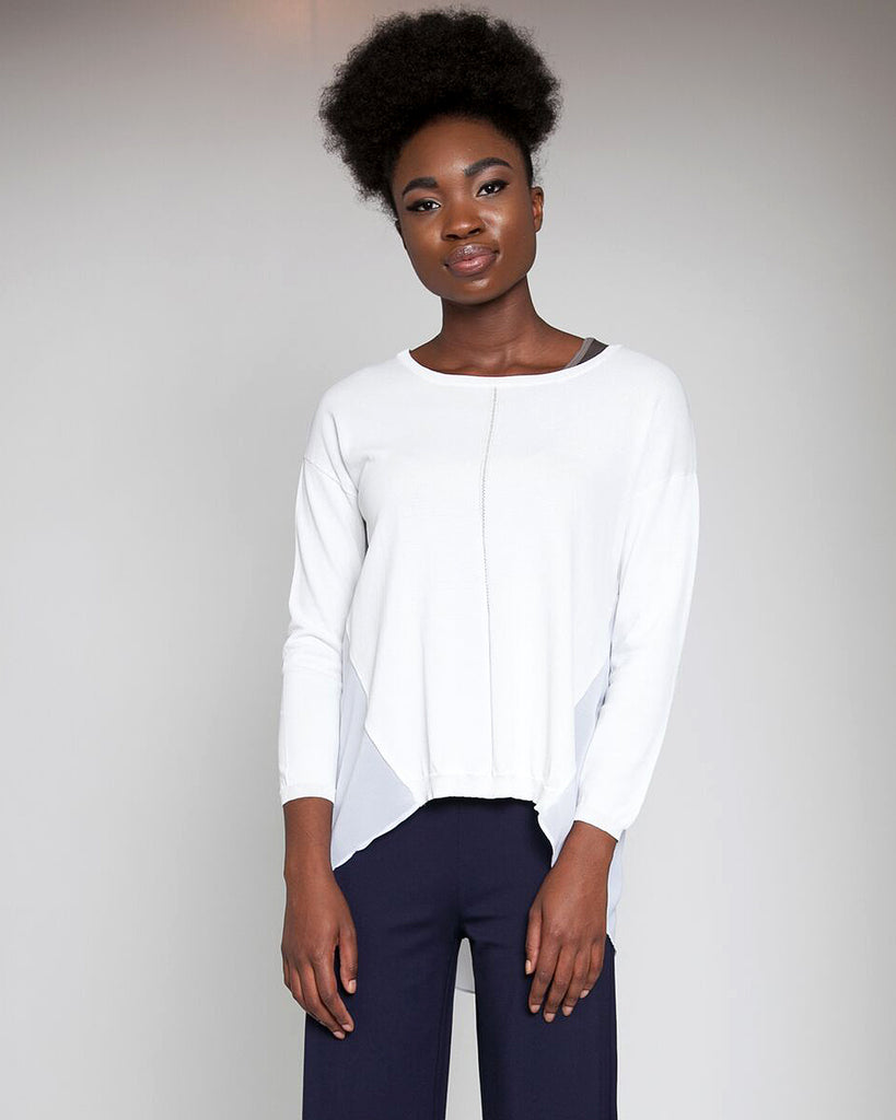 Drop Needle Chiffon Combo Sweater