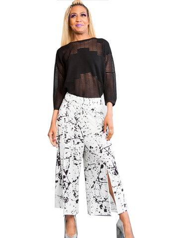 Printed Split Front Wide Leg Ankle Pant