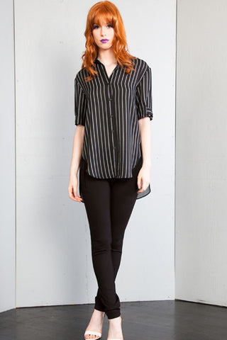 Sheer Back Front Button Stripe Blouse