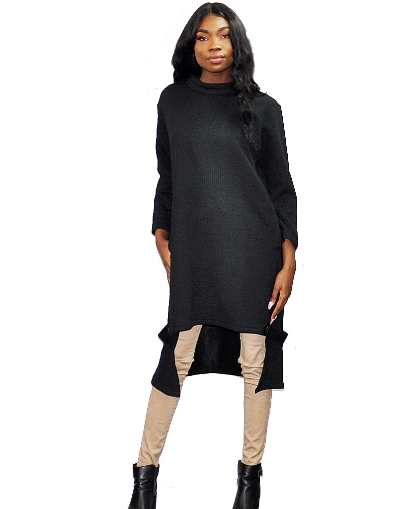 Patrizia Luca Black Oversized Ribbed Sweater Tunic