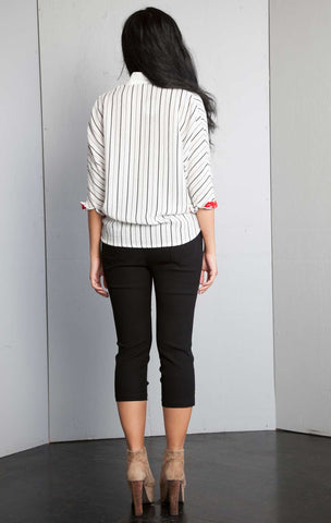 Striped High Low Contrast Tshirt Top