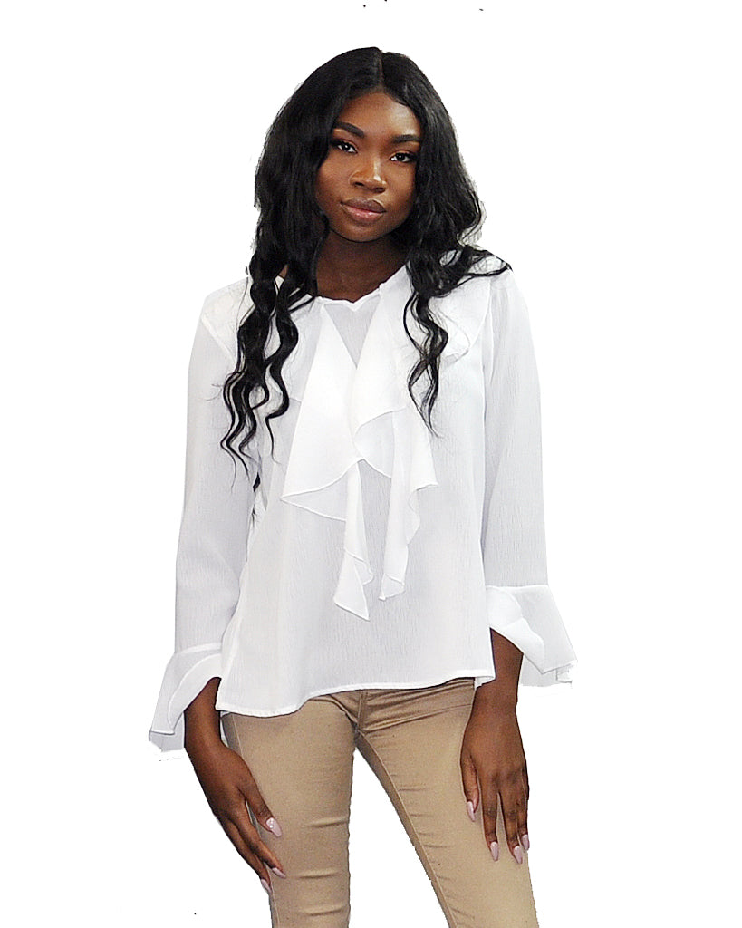 White Front Image of Ruffled Blouse Patrizia Luca