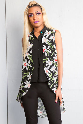 Floral Sleeveless Faux Blouse Vest