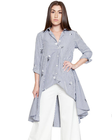 Embellish Me Pinstripe Over-sized Blouse