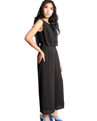 Pin Tuck Pleated Front Jumpsuit