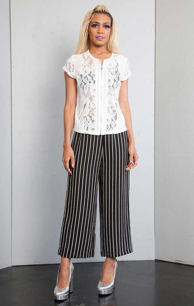 Stripe Wide Leg Ankle Pant