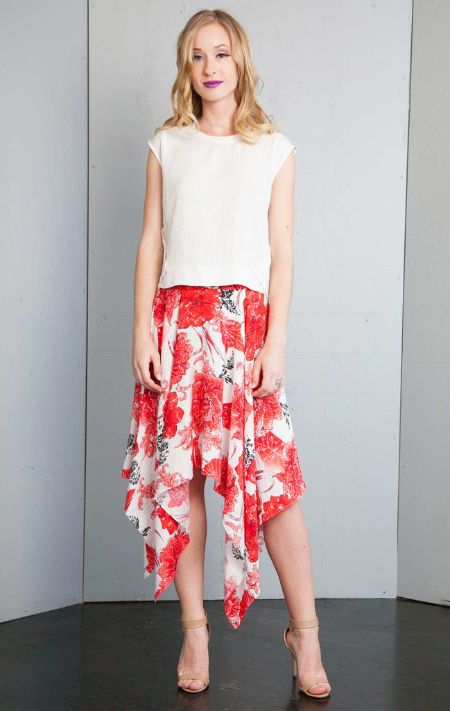 patrizia luca Floral Printed High Low skirt