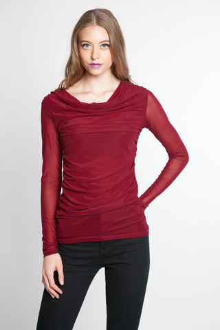 Mesh Drape Neck Roushed Side Top