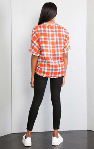 Plaid Printed high low Over sized Tshirt Top