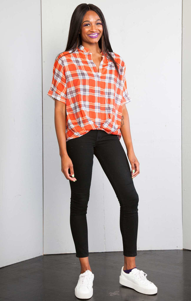 patrizia luca Plaid Printed high low Over sized Tshirt Top