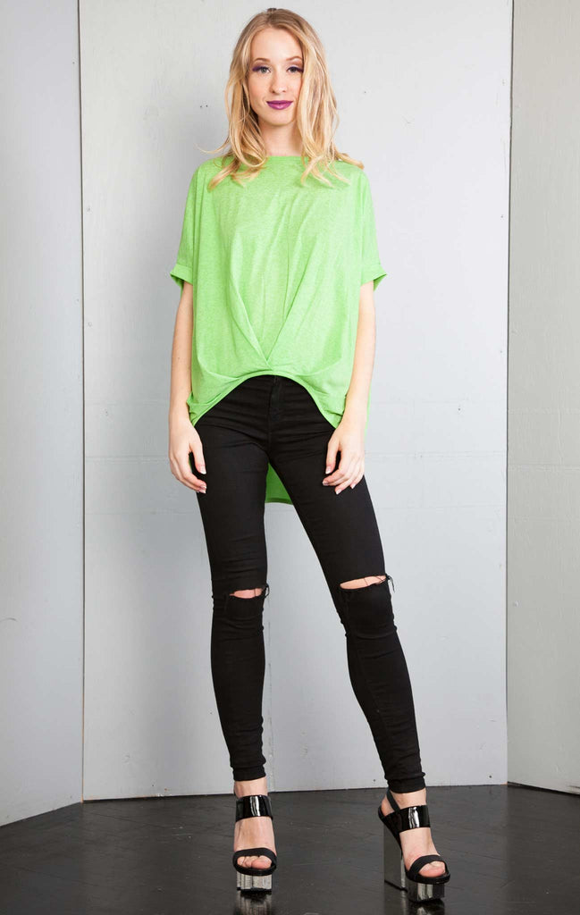 patrizia luca High Low Over Sized Tshirt Top lime