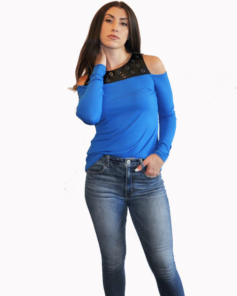 Mix Media - stretch top - jersey top - blue top - black top - patrizia luca milano top - fall top - cold shoulder top