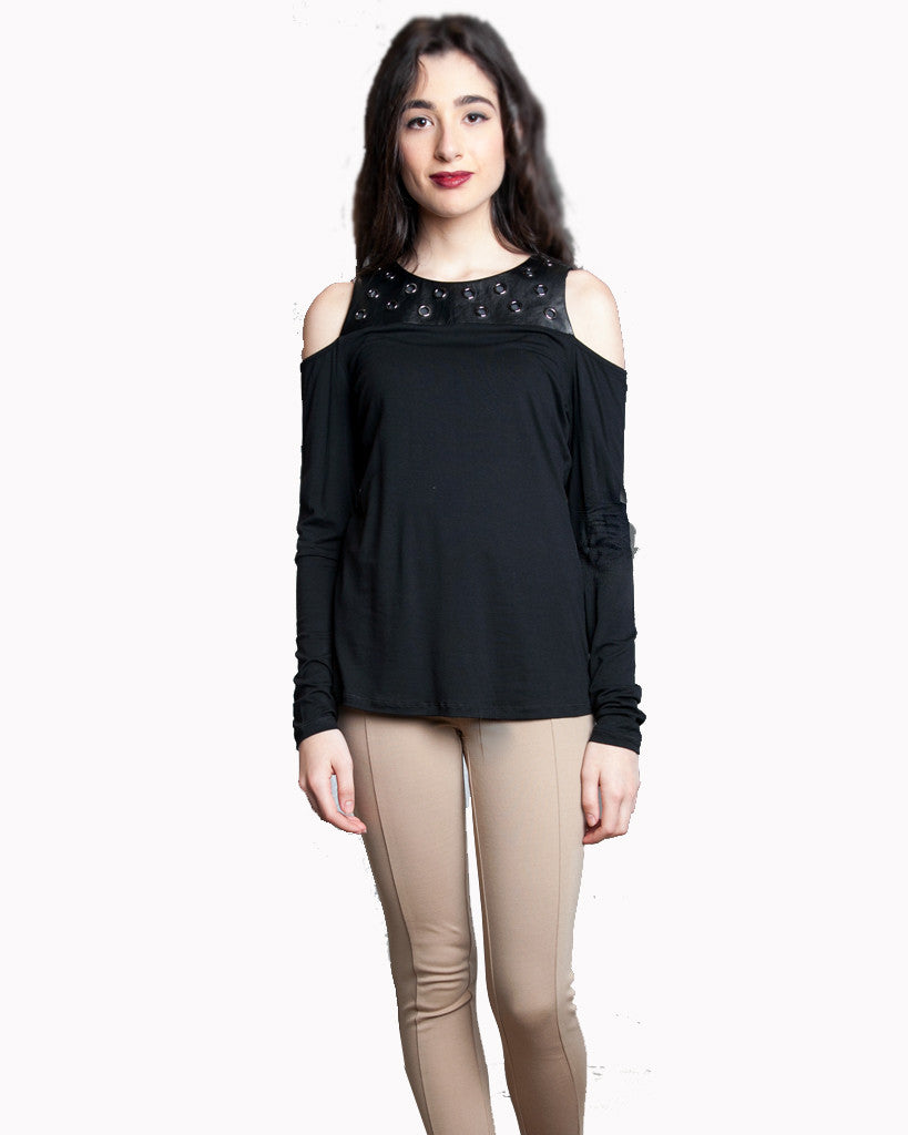 Leather and Grommet Cold Shoulder Top