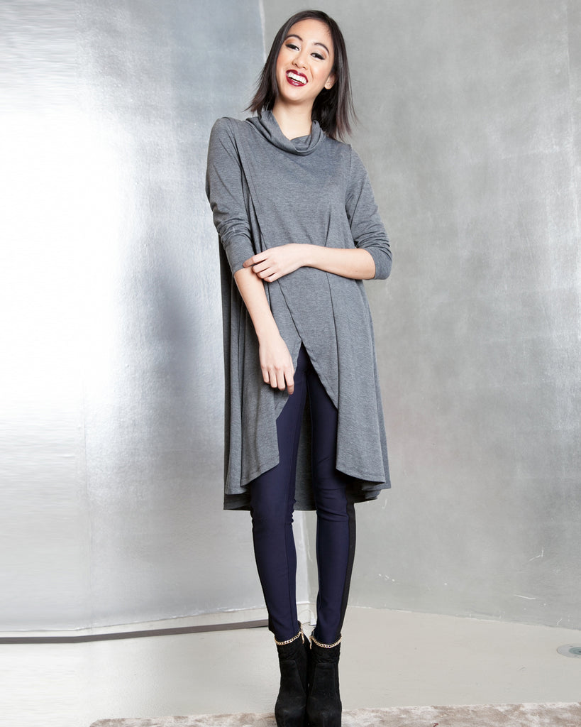 Long Sleeve Split Front Cowl Tunic Top
