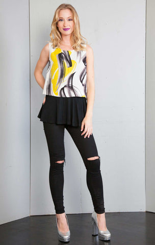 Printed Faux Twofer Top