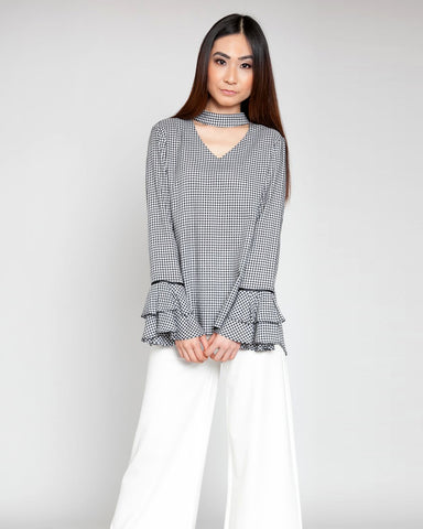 Check me Choker Neck Tiered Sleeve Top