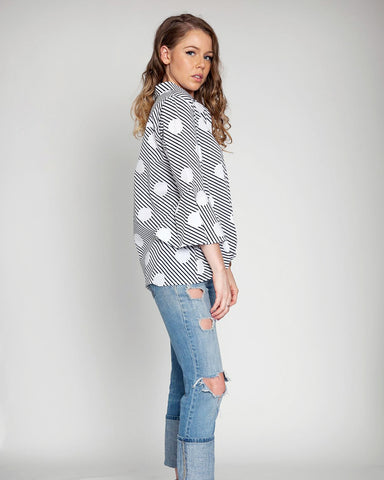 Polka Dot Stripe Blouse