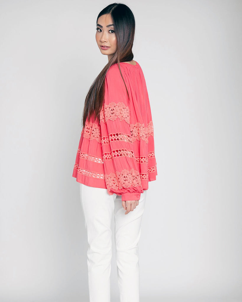 Off the Shoulder Crochet Top Coral