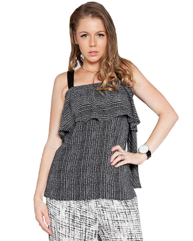 Off Shoulder Cold Shoulder Tank Splatter Top