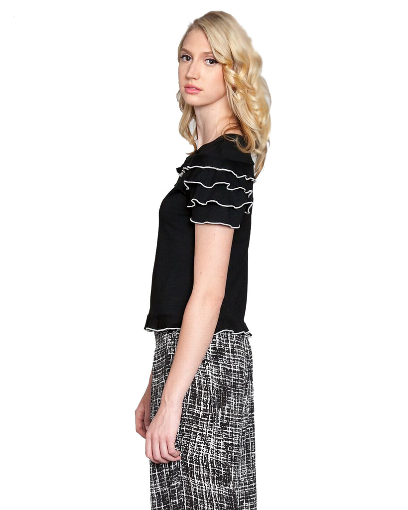 Contrast Pipping T-shirt Top	 Black Side
