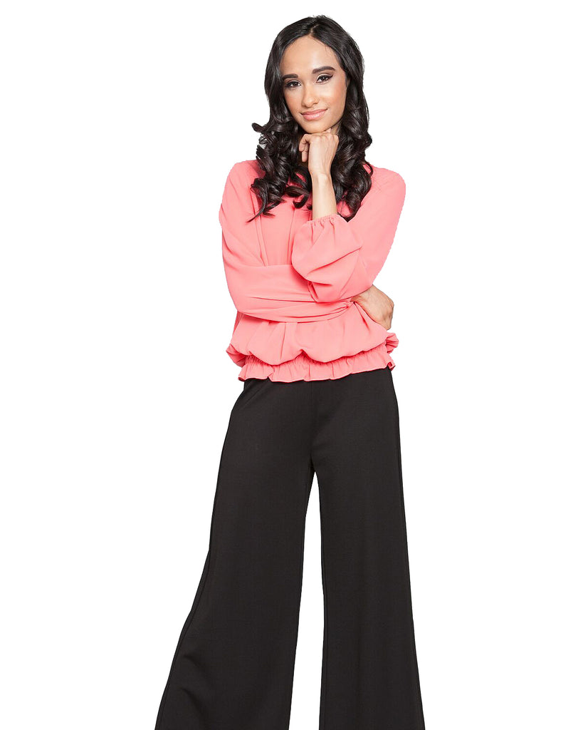 Pleat Front Roused Bottom Top Coral Front