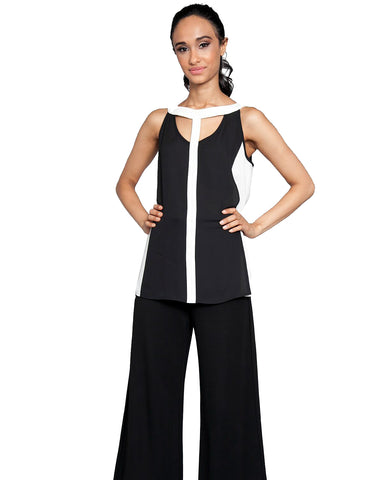 Cut Out Color Block Sleeveless Top