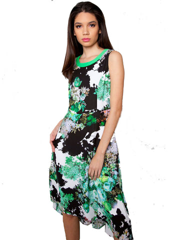 Power Print Green Envy Midi Dress