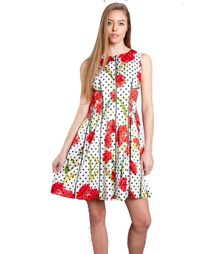 Patrizia Luca Milano Spring 2017 Dot Floral Mini Dress