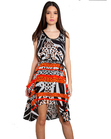 Animal Printed Chiffon Tunic With Braided Belt