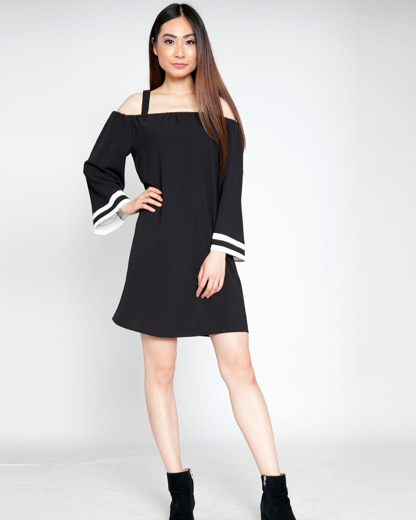 Black and White Bell Sleeve Dress