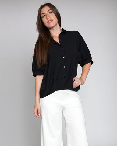 Pleated Front Elbow Sleeve Blouse