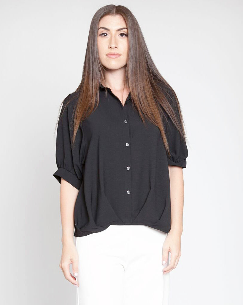 Pleated Front Elbow Sleeve Blouse Black