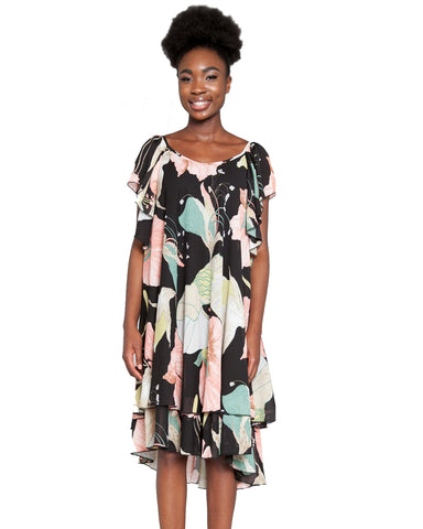 Multi Print High Low Chiffon Dress
