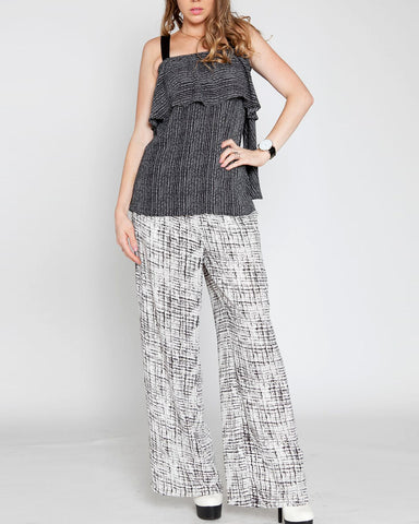 Printed Chiffon Wide Leg Pant with Elastic Waist
