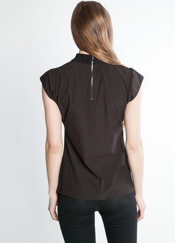 Ribbed Neck Tshirt Top